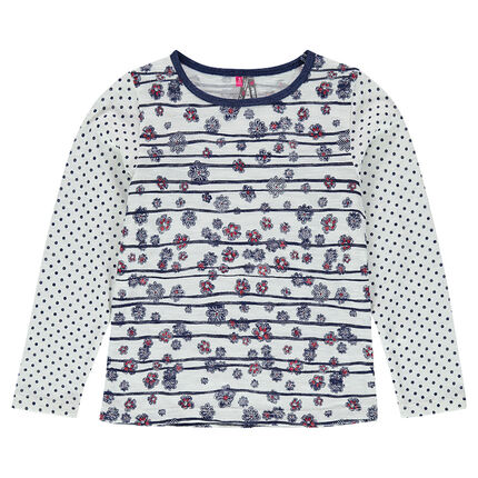 Long-sleeved slub jersey tee-shirt with mix-and-match prints