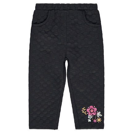 Bubble-effect knit jeggings with embroidered flowers