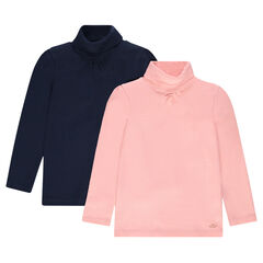 Junior - Set of 2 thin plain-colored turtleneck sweaters