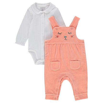 Set comprising jersey bodysuit with Peter Pan collar and velvet overalls