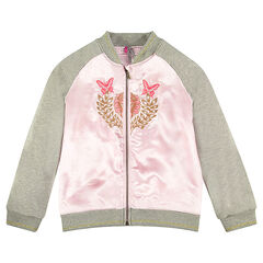 Junior - Bi-material embroidered bomber jacket