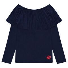 Junior - Bare-shouldered frilled tee-shirt
