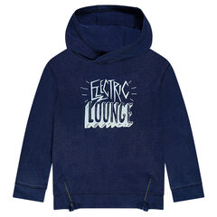 Junior - Hooded fleece sweatshirt with printed message
