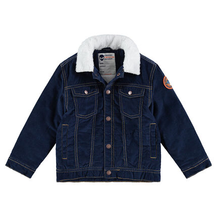 Sherpa-lined denim jacket with a sherpa collar