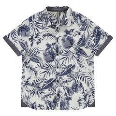 Junior - chemise manches courtes avec imprimé végétal all-over