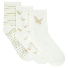 Set of 3 pairs of white and golden socks