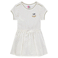 Short-sleeved jersey dress with allover polka dots