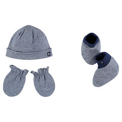 Set with hat mitts and slippers in jersey