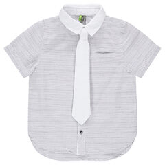 Striped short-sleeved shirt with detachable solid tie