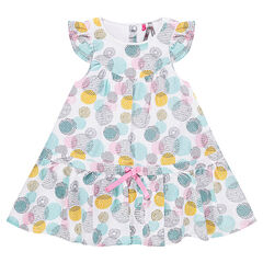 Frilled dress with colorful allover polka dots