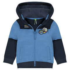 2 in 1 fleece cardigan with patches