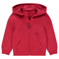 Plain-colored hooded fleece jacket