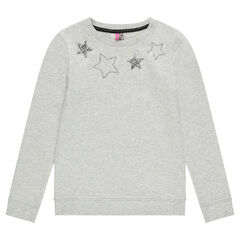Junior - Fleece sweatshirt with stars in silvery sequins