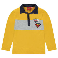 Long-sleeved polo shirt with ©Warner Superman badges