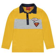 Long-sleeved polo shirt with ©Warner Superman badges