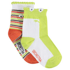 Set of 2 pairs of assorted socks with trendy rib ends