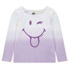 Long-sleeved tie-and-dye tee-shirt with a sparkly ©Smiley