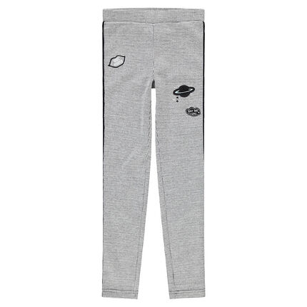 Junior - Fleece jeggings with houndstooth checks, badges and shiny bands