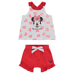Ensemble with a tank top featuring a ©Disney Minnie Mouse print and shorts with a bow
