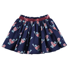 Frilled skirt with printed birds