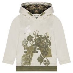 Long-sleeved tee-shirt with a hood featuring a graphic motif