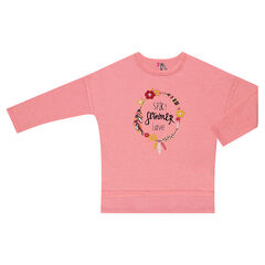 Heathered fleece sweatshirt with floral print and dropped shoulders