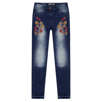 Junior - Embroidered jeans with embroidered flowers