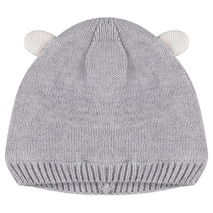 Jersey-lined knit cap with ears in relief