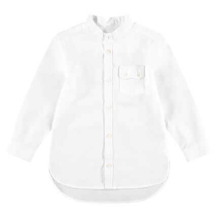 Long-sleeved cotton shirt with flap pocket