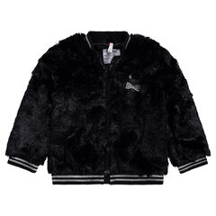 Textured fake fur jacket with embroidered bows