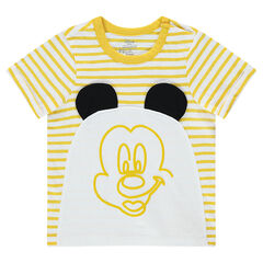 Short-sleeved striped jersey tee-shirt with a Disney Mickey Mouse print