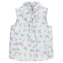 Sleeveless down jacket with decorative print