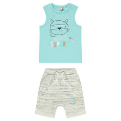 Ensemble with a jersey tank top featuring a masked cat print and bermuda shorts in double-sided jersey