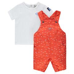 Short-sleeved tee-shirt and short printed dungarees