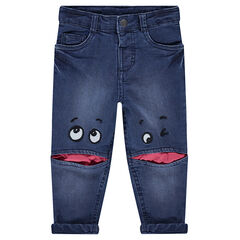 Used-effect jersey-lined denim jeans with eye patches