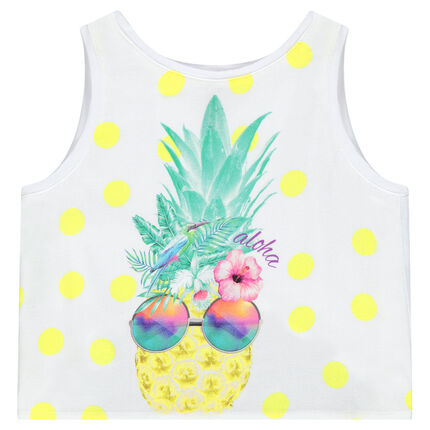Polka-dotted crop top with a pineapple print and crossed tails in back