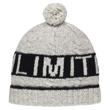 Knit cap with a jacquard text and pompom