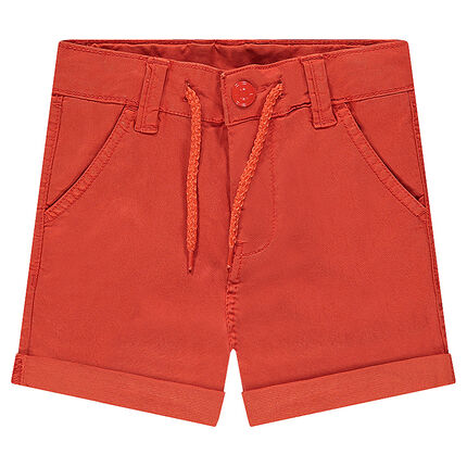 Plain-colored shorts in lyocell with drawstrings