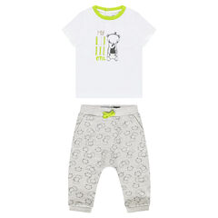 Ensemble with a printed tee-shirt and pants with allover printed animals