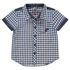 Short-sleeved gingham shirt with chambray pocket and details