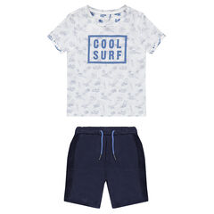 Beach set with all over print t-shirt and terry bermuda short