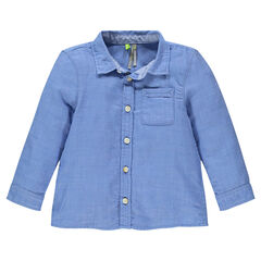 Long-sleeved cotton shirt with pocket