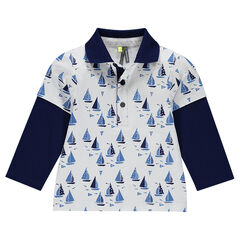 2-in-1 effect, long-sleeved polo shirt with boats motif