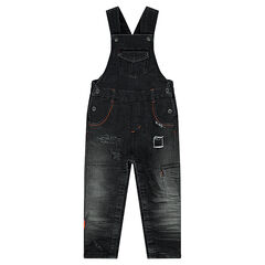 Distressed denim-effect fleece overalls with pockets
