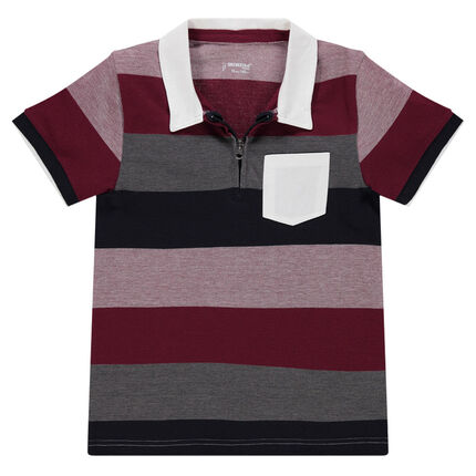 Junior - Short-sleeved polo shirt with wide contrasting bands and zipped collar