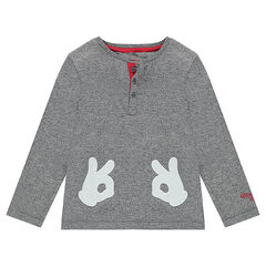 Long-sleeved jersey tee-shirt with a twist - ©Disney Mickey Mouse gloves patches