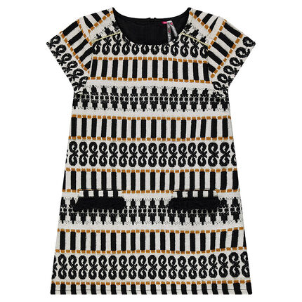Short-sleeved dress with a jacquard motif and fringes