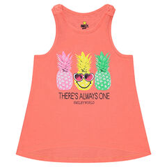 Jersey tank top with printed pine apples
