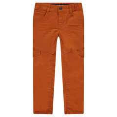 Crinkle slim fit trousers with flaps