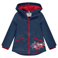 Waterproof windbreaker with polka dots and jersey-lined hood
